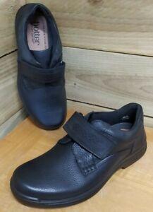 Hotter Ash Mens' Black Leather Flat Shoes - Hook & Loop Fastening - Size UK 7.5