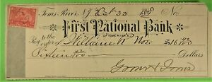 Bank Check, First Nat  Bk, Toms River, NJ 1900 Battleship Revenue.