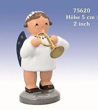 Angelo con Tromba 5 cm nuovo legno Statua Decorativa Erzgebirge di natale
