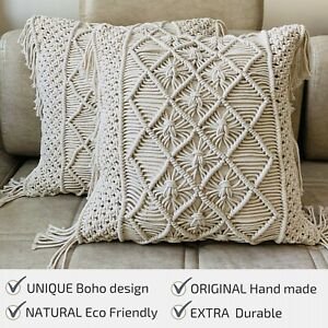 Throw Pillow Covers, Macrame Cushion Case, Woven Boho Cushion Cover set of 2