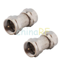2 x F-TYPE F MALE to MALE plug STRAIGHT COUPLER ADAPTER COAX TV SAT CONNECTOR RF