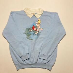 Vintage Top Stitch Ladies Sweatshirt Pullover Bird Print Casual Jumper Size M