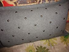 WEST ELM GRAY WOOL BRUSHED NICKEL RHINESTONES (1) OBLONG THROW PILLOW 12 X 21
