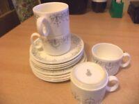 4 X OLD VINTAGE RETRO ROYAL DOULTON BONE CHINA grey WHITE trio cup saucer plate