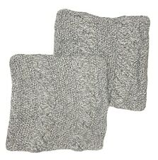 2-Pottery Barn Square Cable Knit Sweater Throw Pillow Cover Gray
