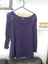 Ladies BNWOT Very Trendy 3/4 Sleeve Deep Purple Button Top by AJC Size 10/12