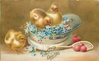 Clapsaddle~Easter~Yellow Chicks in White Cap~Racquet~Eggs~Forget-Me-Nots~Gold