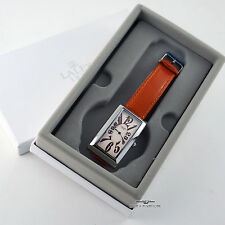 Lalex Quartz Silver Watch Orange Leather Band - Made In Italy
