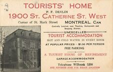 Tourists' Home, P.F. Devlin, 1900 St Catherine Street West, Montreal, Canada
