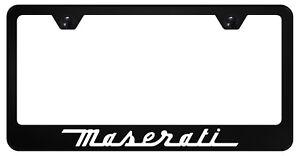 Maserati BLACK Powder Coated Metal License Plate Frame Tag Holder w/Screw caps
