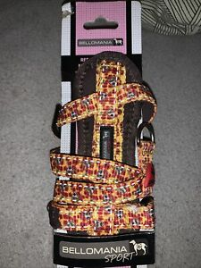 BELLOMANIA SPORT Dog Harness Yellow Brown Red Floral XS 27-46cm S Pug Terrier