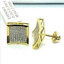10K Gold .33 CTW Diamond Stud Earrings 11.35mm Square Micro Pave Screw Back $900