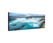 120x40cm Wandbild Leinwand Panorama Godafoss Island Wasserfall Norden Sinus Art