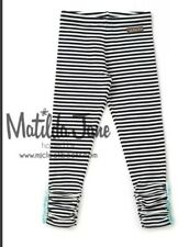 MATILDA JANE Haystack Leggings Black White Stripe Girls Size 12