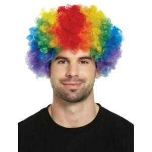 Fancy Dress Rainbow Multi Coloured Clown Wig for Adults