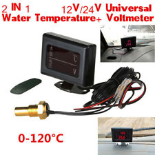 2 In 1 LCD Digital Display Car SUV Voltage Gauge+Water Temperature Gauge Sensor