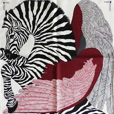 "NEW Mens Adorable Horse HERMES Zebra Pegasus SMALL Scarf 16""42cm Alice Shirley"