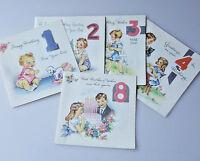 5 vintage 1940s children's birthday cards 1 2 3 4 8 sweet illustrations unused