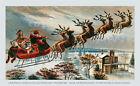 Santa Called Them by Name Reindeer Sleigh in Sky (: Art Print of Vintage Art :)