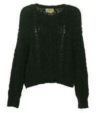 D&S Ralph Lauren Women's Cable Knit Cotton Long Sleeve Sweater Black Size XL $98