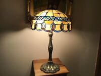 """27"""" Vintage Brass And Stained Glass Double Pull Chin Table Lamp"""