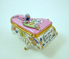 New French Limoges Trinket Box Cute Blue Bird On Grand Piano With Easter Bunny