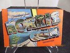 Vintage Greetings From Norris Dam Tennessee Large Letter Linen Postcard