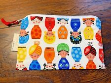 """Matroyshka Doll Brightly Colored Zip Makeup Purse Snack Bag Pouch 7x 5"""" Two+Two"""