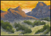 JOEL Love Art Original Oil Painting Mountains Southwestern Sunset Landscape