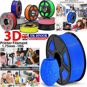 3D Printer Printing Filament 1.75mm 1KG Spool Various Colours PETG/ PLA/ PLA+ UK