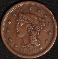 "1856 ""BRAIDED HAIR"" LARGE CENT!"