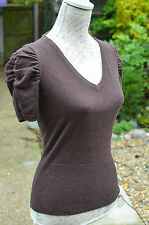 BETTY JACKSON BLACK  Brown Forties Vtg Style Ruched Short Sleeve Top SIZE 10 40s
