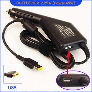 Laptop DC Adapter Car Charger + USB for Lenovo Thinkpad E565 E460 E465 E540