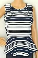 Casual Couture Peplum Green Envelope Top Womens L Sleeveless Striped Black White