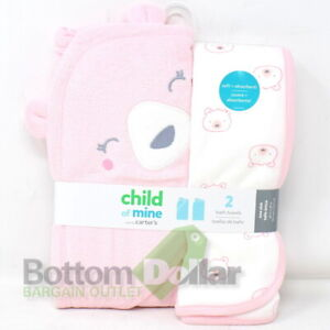 Child of Mine By Carter's 2-Piece Baby Girl Bath Towel Set Bears Pink/ White