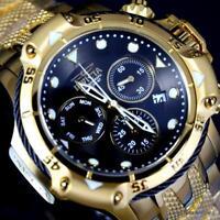 Invicta Subaqua Poseidon Bolt Chronograph Gold Plated Steel Black 50mm Watch New