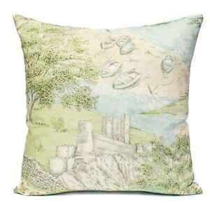 """New Sanderson Sea Houses Tidewater Blue Fabric Cushion Cover 18 x 18""""  toile"""