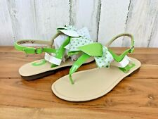 Nine West Women's Flat Ankle Strap Sandals Green White Bow NIB Size 5