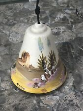 Vintage Pottery Wind Chime Bell Hand Painted Signed Tasso Dobe of Arizona