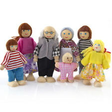Dolls House Family Of 7 Flexible Wooden Doll House People Figures Role Play Game