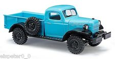 Busch 44024, Dodge Power Wagon with Flatbed, Blue, H0 Car Model 1:87