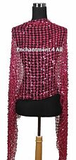 Sassy Oblong Crochet Net Stage Scarf Wrap Costume w/ Dazzling Sequins, Hot Pink