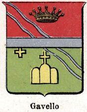 Stemma del Comune di GAVELLO. Cromolitografia. Polesine. Rovigo. Veneto. 1901