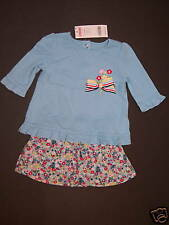 NWT Gymboree Wish You Were Here 3-6 Months Blue Tee Top & Floral Bubble Skirt