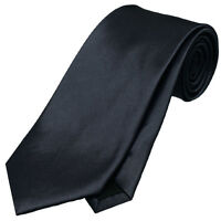 MENS DARK SILVER GREY 8.5CM TIE necktie wedding plain formal
