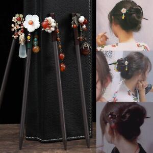 1PC Retro Flower Shape Tassel Wooden Hairpins Hair Clips Women's Headwear Access