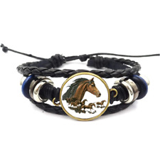 Brown horse Glass Cabochon Bracelet Braided Leather Strap Bracelets