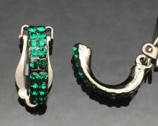 CLIP-ON Emerald Green Black Small Hoop Diamante Earrings Wedding Girls Antique