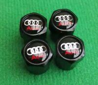 AUDI HIGH QUALITY BLACK WHEEL TYRE VALVE DUST CAPS SET x4 RS S6 A2 S LINE A4