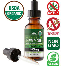 Natural Premium Hemp Oil Drops for Pain Relief, Stress, Anxiety, Sleep 1000MG